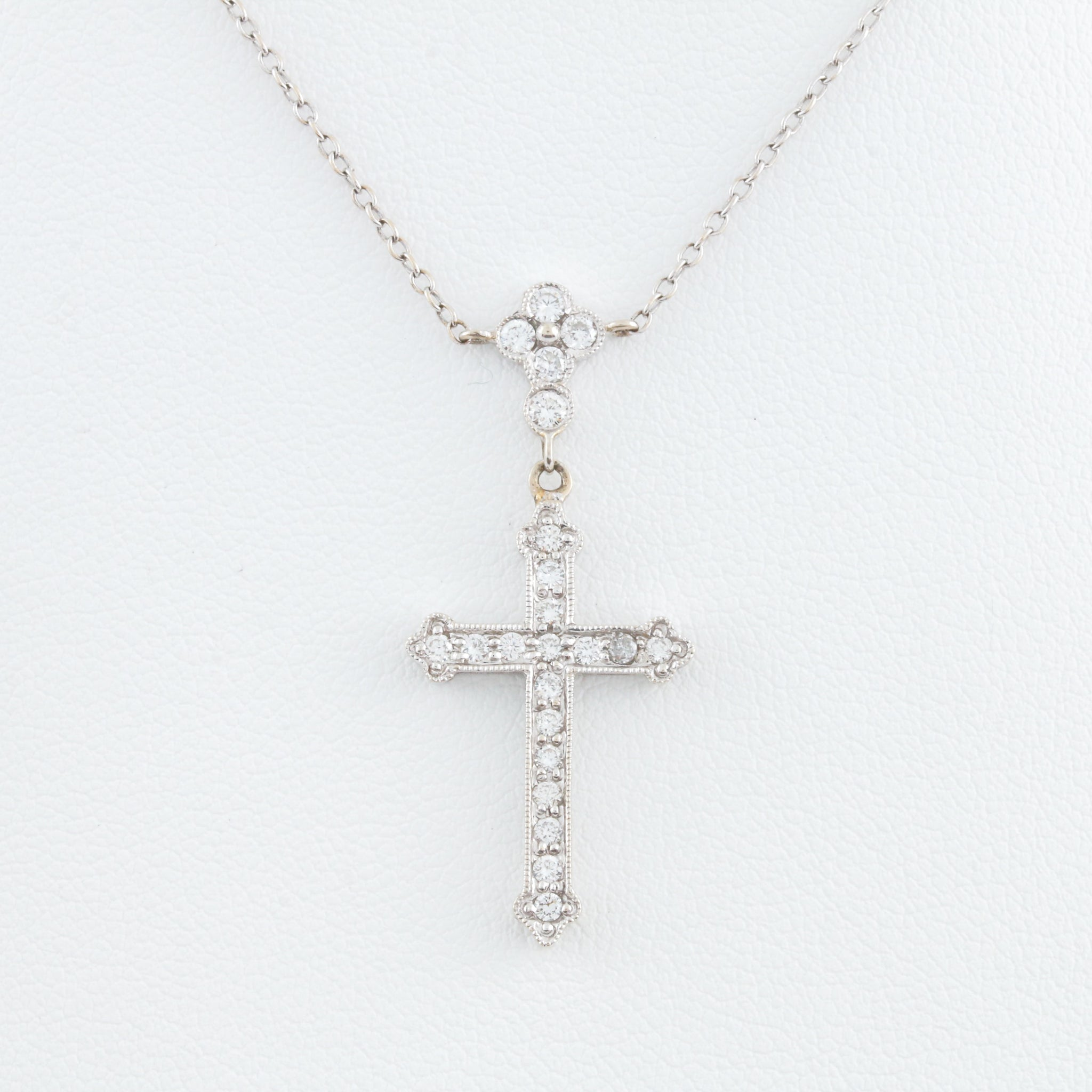 *SOLD* Diamonds in White Gold Cross Necklace - Sindur