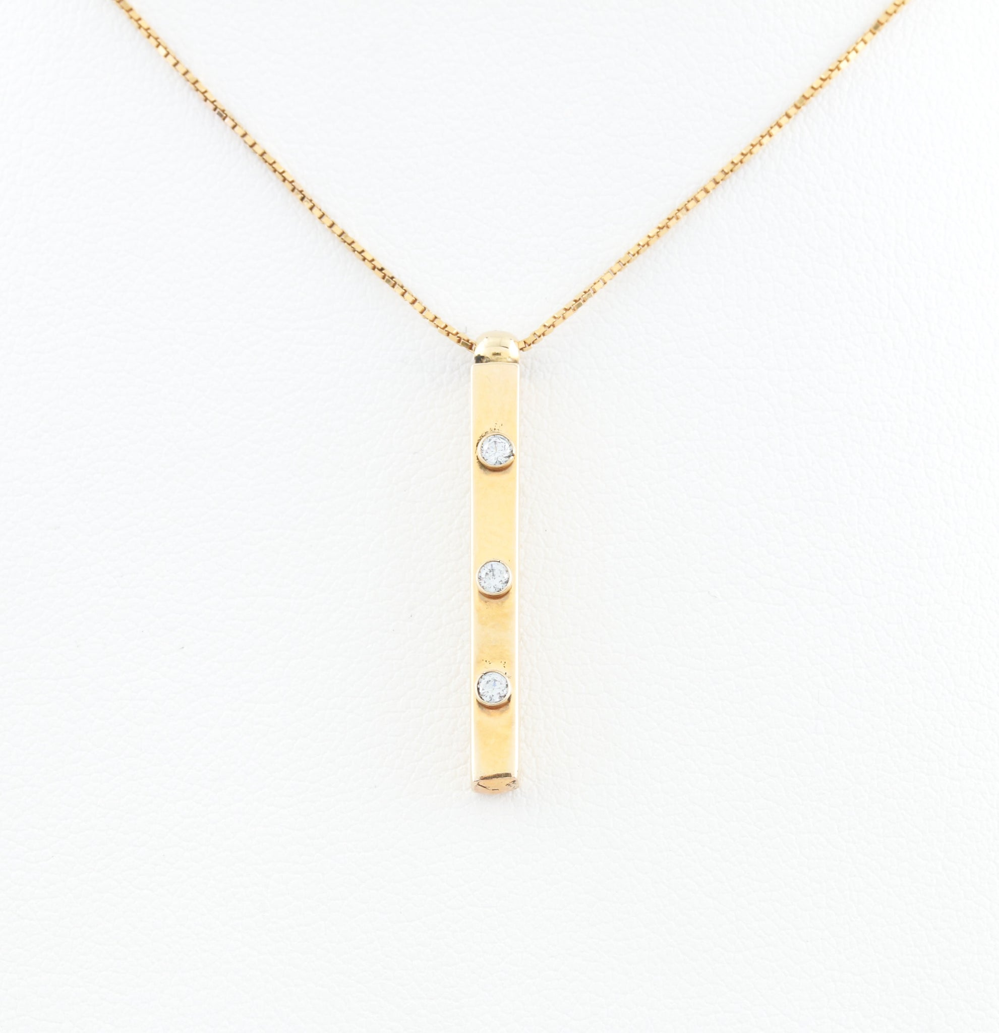*SOLD* Three Diamonds in Yellow Gold Bar Necklace - Sindur Style