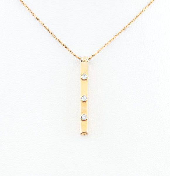 Three Diamonds in Yellow Gold Bar Necklace
