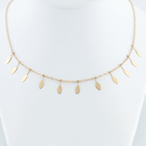 Yellow Gold Fan Necklace
