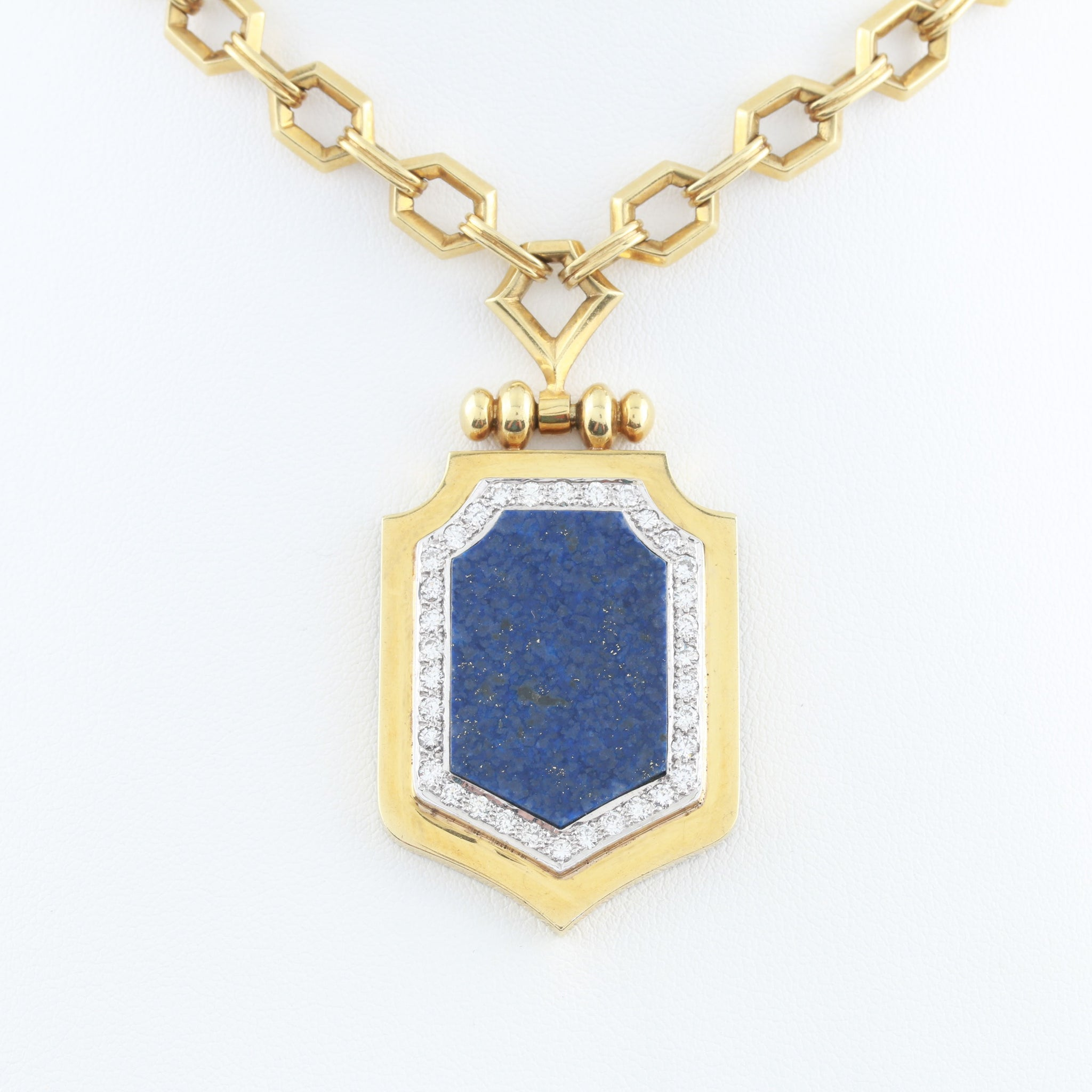 Lapis and Diamonds in Antique Handmade Yellow Gold Necklace