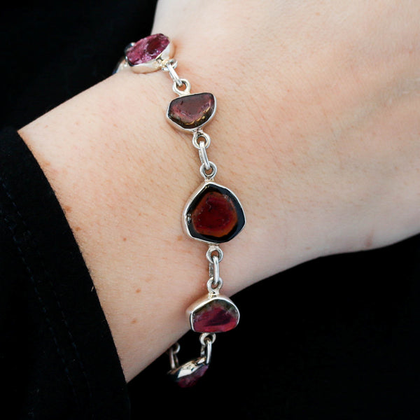 *SOLD*Bezel Set Watermelon Tourmaline Bracelet in Sterling Silver - Sindur