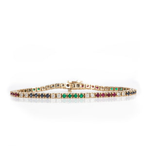 Diamond, Ruby, Sapphire & Emerald Tennis Bracelet in Yellow Gold