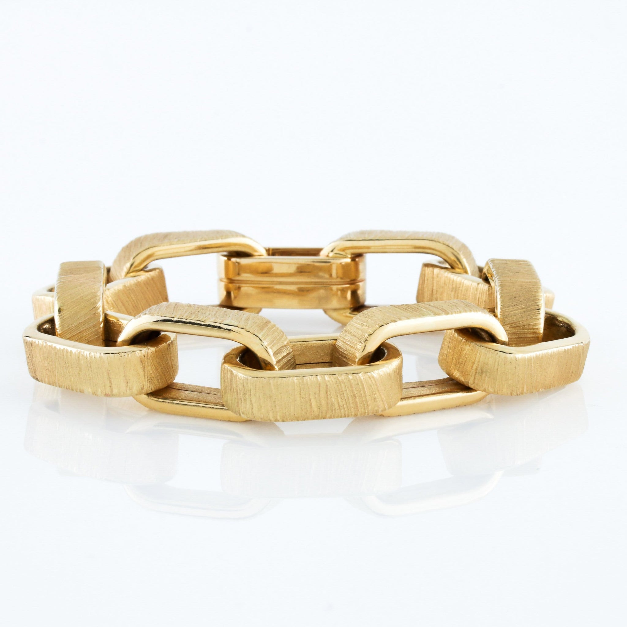 Yellow Gold Oversized Square Open Link Bracelet