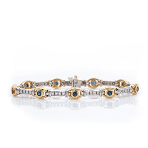 Sapphires and Diamonds in Striking Yellow and White Gold Bracelet - Sindur