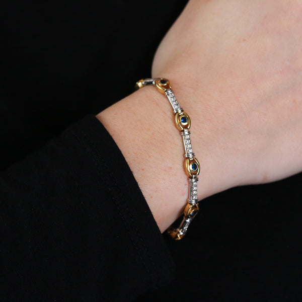 Sapphires and Diamonds in Striking Yellow and White Gold Bracelet