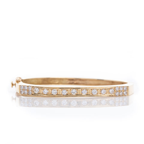 Diamonds Yellow Gold Square Cuff Bracelet