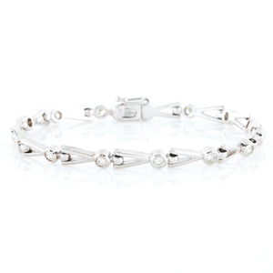 One Carat of Diamonds in Contemporary White Gold Bracelet
