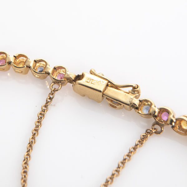 Pink, Yellow and Blue Sapphires in Yellow Gold Tennis Bracelet