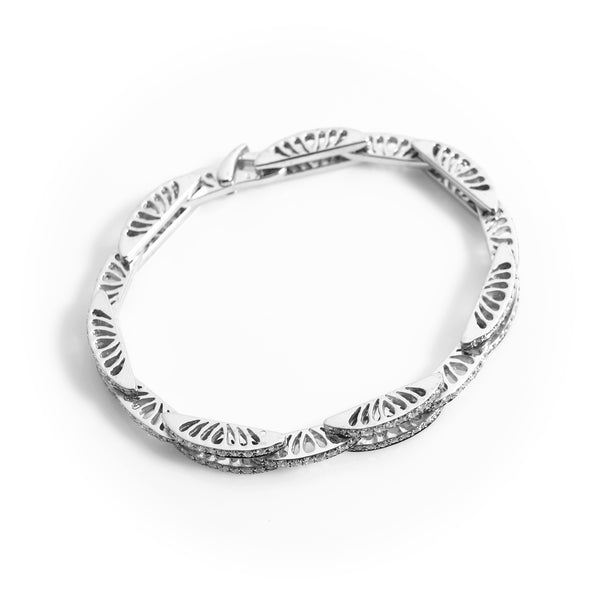 *SOLD* Diamonds in White Gold Arch Links Bracelet - Sindur