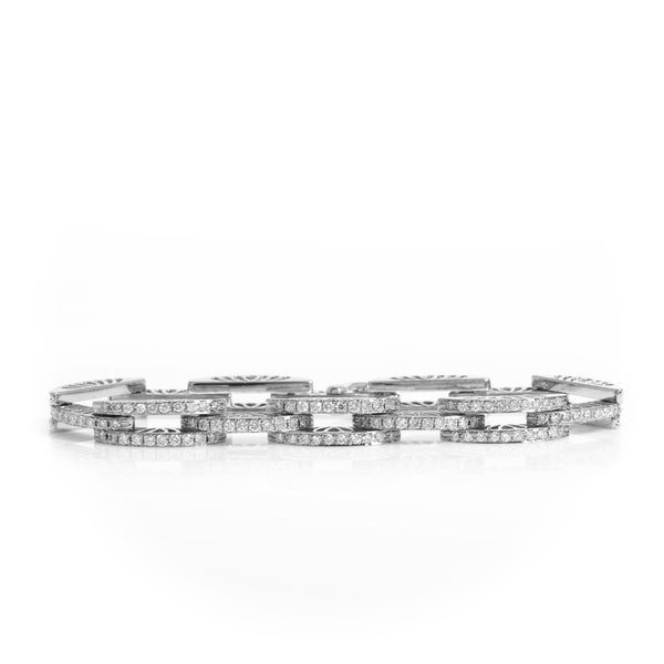 *SOLD* Diamonds in White Gold Arch Links Bracelet - Sindur Style