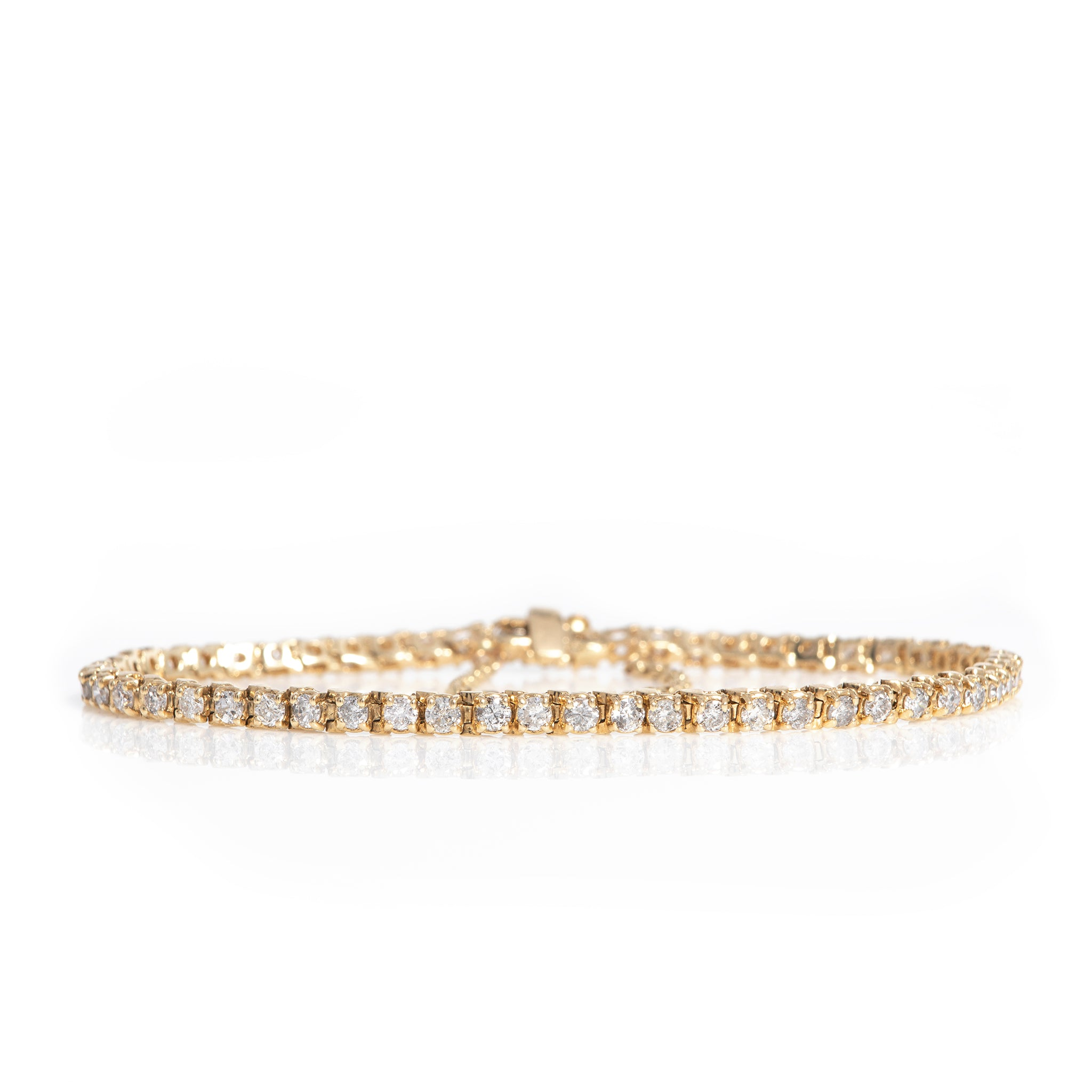 *SOLD* Three Carat Diamond Tennis Bracelet in Yellow Gold - Sindur Style