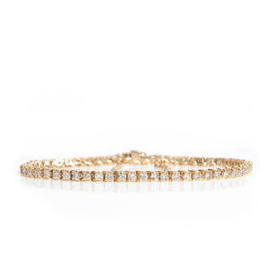 Three Carat Diamond Tennis Bracelet in Yellow Gold