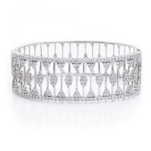 Diamonds in Ornate White Gold Bangle Bracelet - Sindur