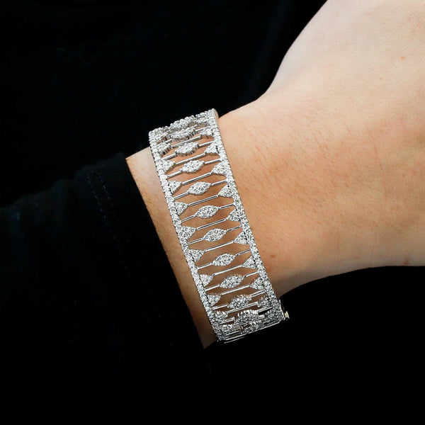 Diamonds in Ornate White Gold Bangle Bracelet
