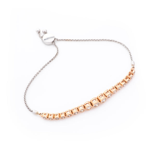 *SOLD* Diamonds in Rose Gold Bezel with White Gold Chain Bracelet - Sindur