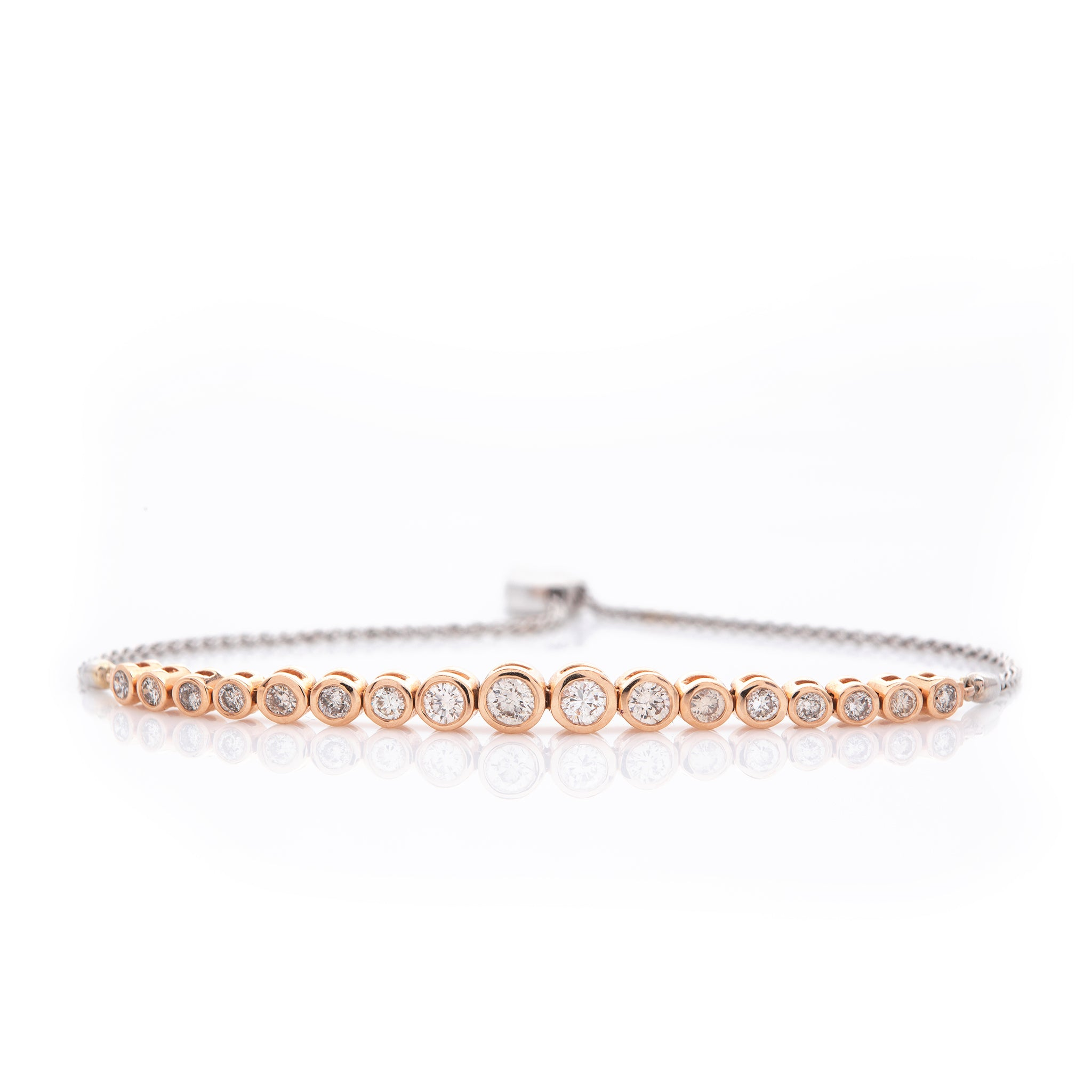 *SOLD* Diamonds in Rose Gold Bezel with White Gold Chain Bracelet