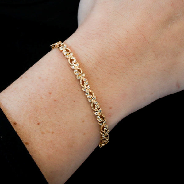 *SOLD* Diamonds in Yellow Gold Floral Bracelet - Sindur