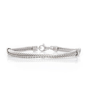David Yurman sterling silver diamond crossover bracelet, 9.9 dwt. - Sindur