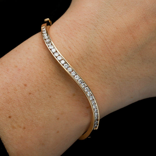 *SOLD* Modern Yellow Gold with Diamonds Wave Bangle Bracelet - Sindur