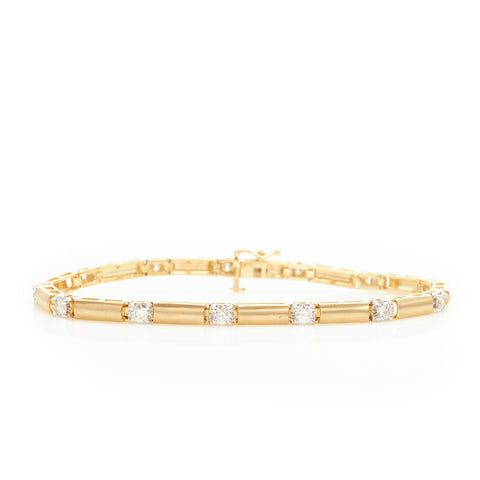 *SOLD*Diamonds in Two Tone Gold with Satin Finish Bracelet