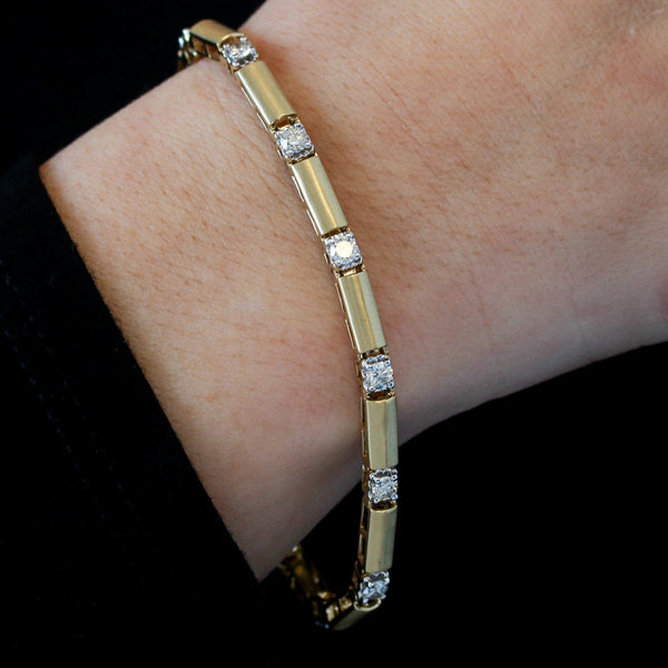 *SOLD*Diamonds in Two Tone Gold with Satin Finish Bracelet - Sindur