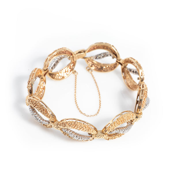Vintage Two Tone Gold and Diamond Bracelet - Sindur