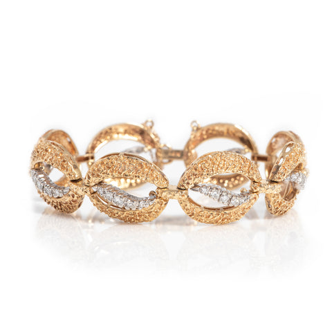 Vintage Two Tone Gold and Diamond Bracelet - Sindur Style