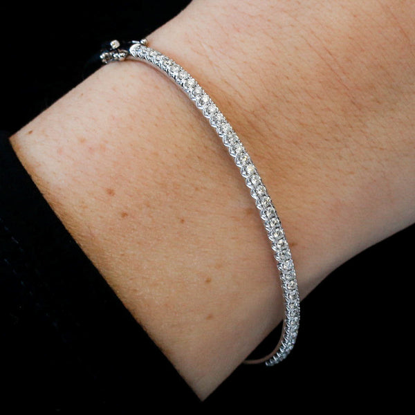 White Gold and Diamond Bangle Bracelet