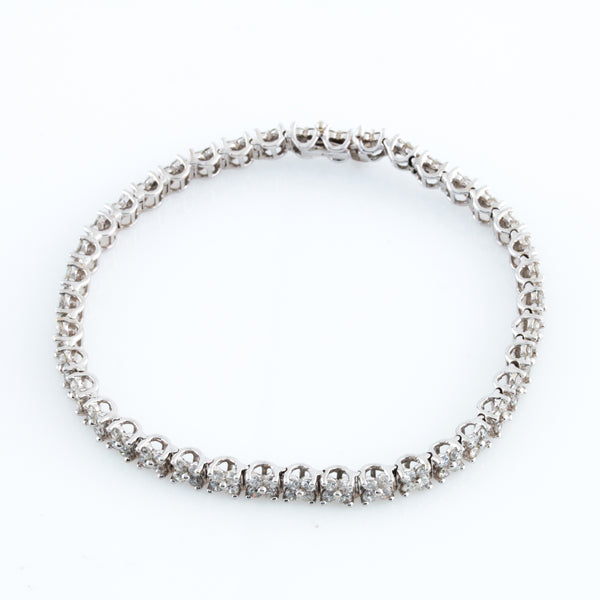 *SOLD* Diamonds in White Gold Floral Bracelet