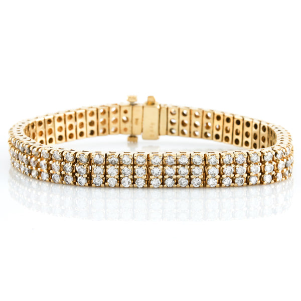*Sold* Three Row Diamond Tennis Bracelet in Yellow Gold - Sindur