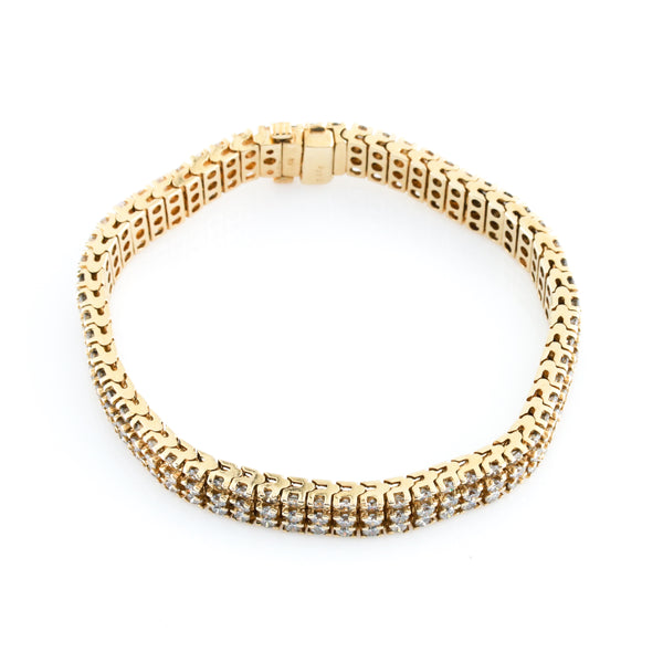 Three Row Diamond Tennis Bracelet in Yellow Gold