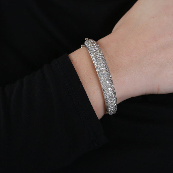 Pavé Set Diamonds in White Gold Bangle - Sindur