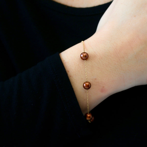 Chocolate Pearls and Yellow Gold Bracelet - Sindur Style