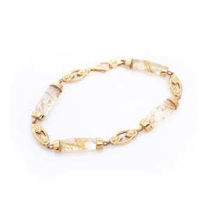Golden Rutile Quartz Cabochons in Yellow Gold Bracelet
