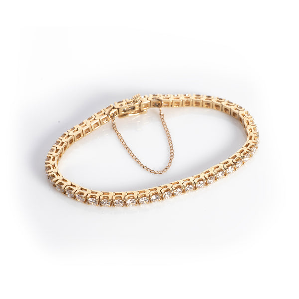 *SOLD* Five Carat Diamond Tennis Bracelet in Yellow Gold