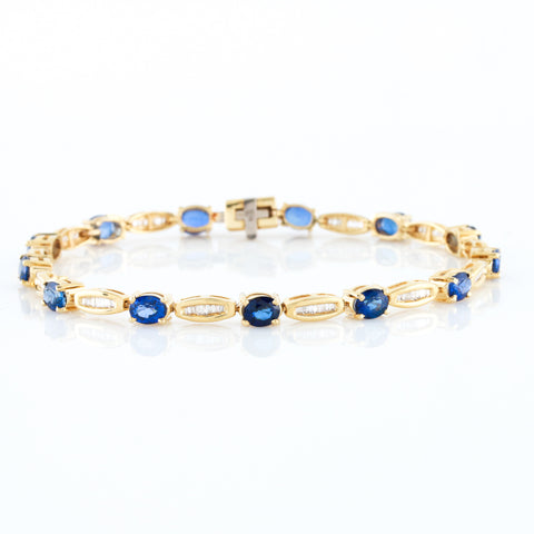 Sapphires and Diamond Baguettes in Yellow Gold - Sindur Style