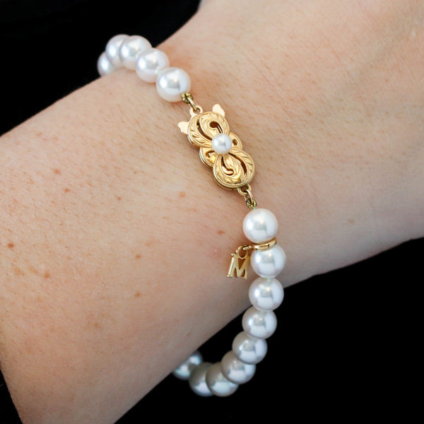 *SOLD*Mikimoto Pearl and Yellow Gold Bracelet