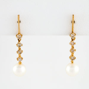 Pearls and Diamonds in Yellow Gold Dangle Earrings