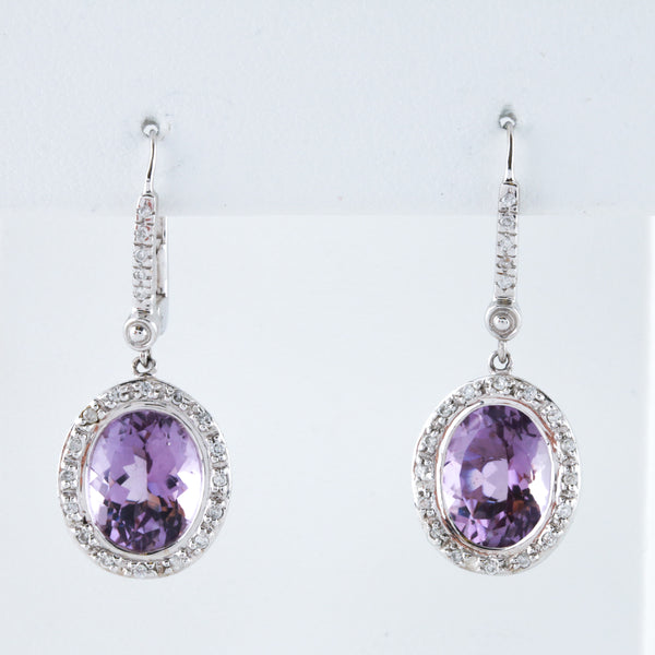 Amethysts and Diamonds in White Gold Earrings