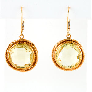 *SOLD* Faceted Lemon Quartz in Yellow Gold Earrings - Sindur