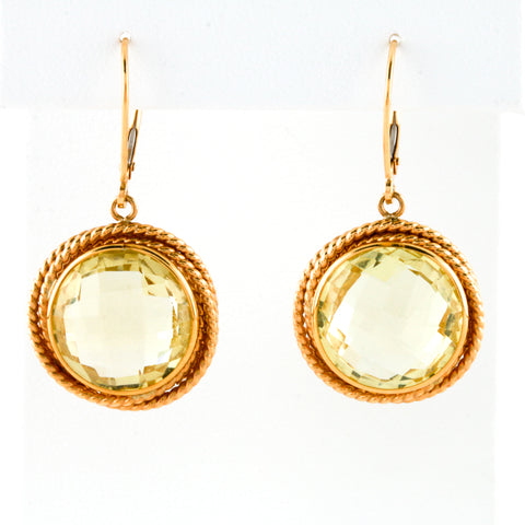 Faceted Lemon Quartz in Yellow Gold Earrings