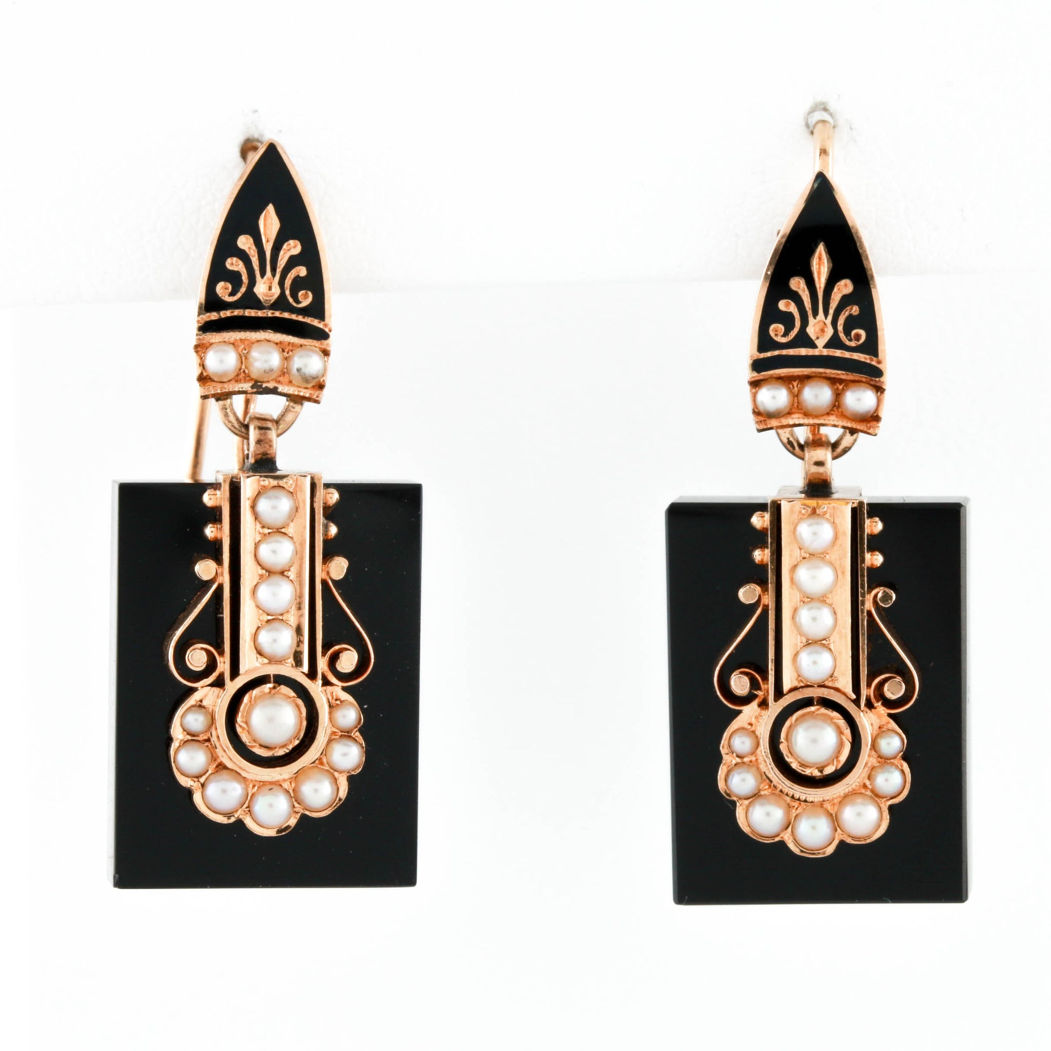 Victorian Yellow Gold Mounted Onyx Earrings with Seed Pearls - Sindur