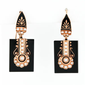 Victorian Yellow Gold Mounted Onyx Earrings with Seed Pearls - Sindur Style