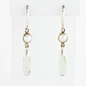 SOLD/ Prasiolite and Pearl in Sterling Silver Earrings