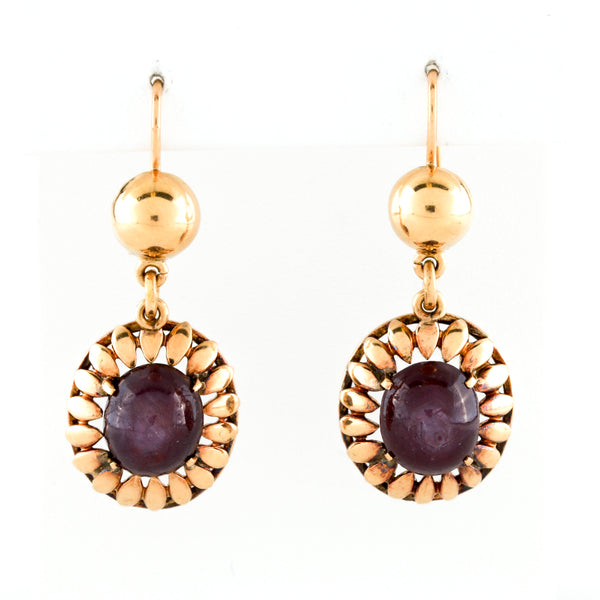 Vintage Star Ruby Cabochons in Yellow Gold Earrings - Sindur