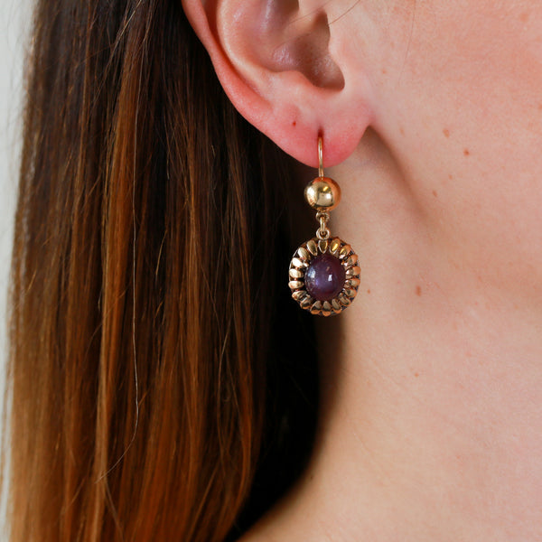 Vintage Star Ruby Cabochons in Yellow Gold Earrings