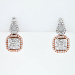 *SOLD*Square Baguettes and Round Diamonds in Two Tone Gold Earrings
