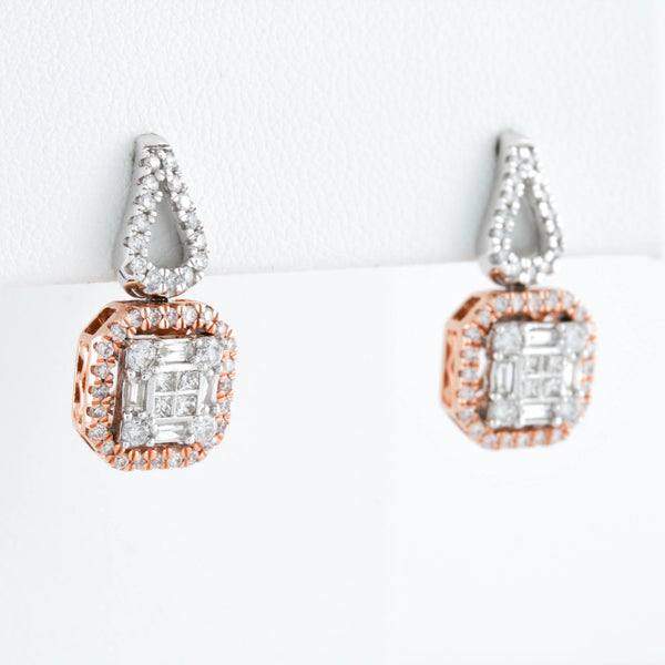 *SOLD*Square Baguettes and Round Diamonds in Two Tone Gold Earrings - Sindur Style