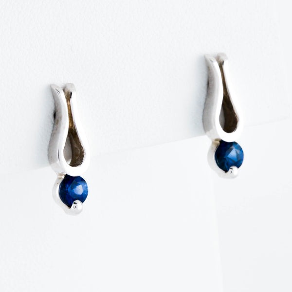 Sapphires in White Gold Earrings